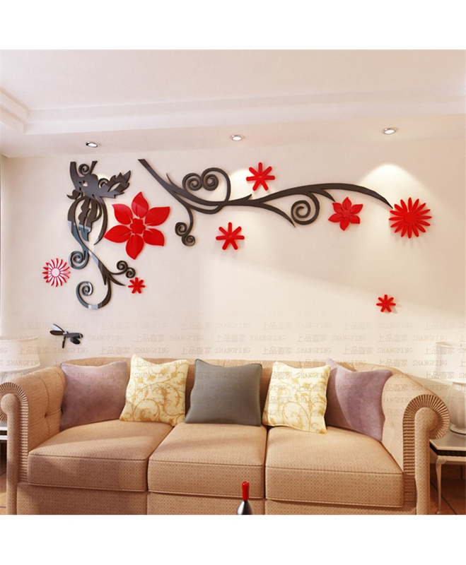 buy 3d flower stereo crystal wall stickers online in pakistan