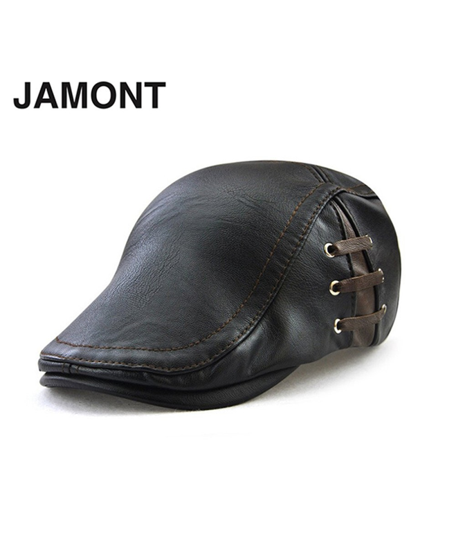d82119f3a5b05 Buy JAMONT Black Berets PU Leather Hat Flat online in Pakistan ...