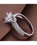 1 Carat Cubic Zircon 925 Sterling Silver Love Ring