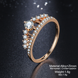 17 KM Cubic Zirconia Crown Pink Rose Gold Crystal Ring