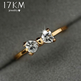 17 KM the Austria Crystal Color Gold Engagement Ring