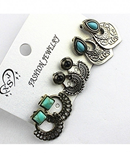 3 Party Style Mixed Earring Set