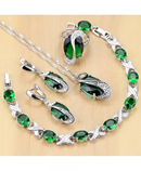 925 Sterling Silver Jewelry Green Zircon White CZ Jewelry Set
