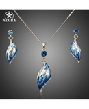 AZORA Design GoldenOil Painting Pattern Drop Jewelry Set