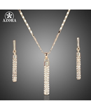 AZORA Gold Austria Crystals Drop Earrings and Pendant Necklace Set