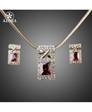 AZORA Gold Red Cubic Zirconia Earrings and Necklace Sets