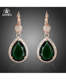 AZORA Noble Rose Gold Dark Green Crystal Surround