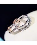 Adjustable Double Layer Micro Pave Ring