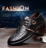 BIMUDUIYU Luxury Brand Men Casual Soft Leather Black Lace-up Shoes