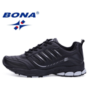 BONA Black Comfortable Athletic Running Shoes