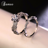 Bamos Female White Round Luxury Ring Set 925 Silver Ring