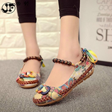 Beaded Ankle Straps Casual Flat Shoes