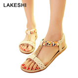Beige LAKESHI Bohemia Womens Summer Open Toe Crystal Sandal