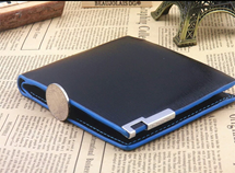 Black Blue Solid Pattern Designer Wallet