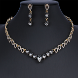 Black Exquisite Crystal Necklace Earring Jewelry Set