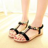 Black LAKESHI Bohemia Womens Summer Open Toe Crystal Sandal