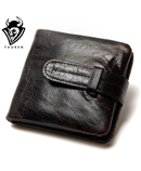 Black Luxury Cowhide Oil Wax Leather Bi-Fold Wallet