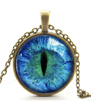 Blue Cats Eye Necklace Glowing Eye Glow in the DARK