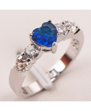 Blue Crystal Zircon White Crystal Zircon 925 Sterling Silver