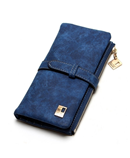 Blue Drawstring Leather Zipper Wallet