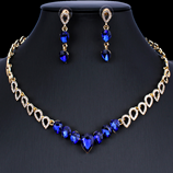 Blue Exquisite Crystal Necklace Earring Jewelry Set