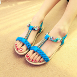 Blue LAKESHI Bohemia Womens Summer Open Toe Crystal Sandal