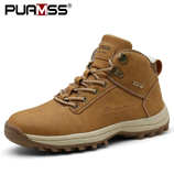 PUAMSS Winter Warm Leather Fur Waterproof Boots