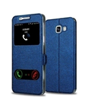 Blue Smart Front Window View Leather Flip Case
