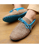 Blue Weaving Lace-up Comfort Loafers AT-4820