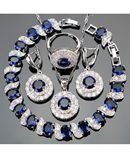 Blue Zircon Bridal Silver 925 Jewelry Set