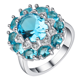 Bohemian Vintage Blue Sky Crystal Flower Finger Ring