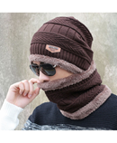 Brown Beanies Knit Winter Caps with Collar