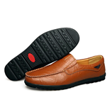 Brown Genuine Leather Mens Breathable Loafers