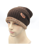 Brown Knit Beanie Knitted Winter Cap