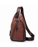 Brown Leather Shoulder Chest Back Packs Bag