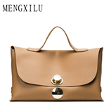 Brown PU Big Sac Lock Luxury Women Designer Handbag