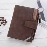 Brown Tri-Fold Coin Purse PU Leather Zipper Wallet