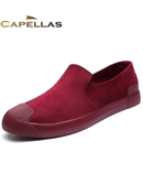 CAPELLAS Claret Flock Breathable Loafers