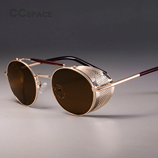CCSPACE Retro Round Metal Shades Protection Sunglasses