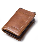 CONTACT Brown Leather Card Holder Coin Purse Wallet