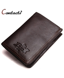 CONTACT Choco Brown Leather Bi-fold Wallet