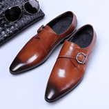 COSIDRAM British Men PU Leather Brown Shoes