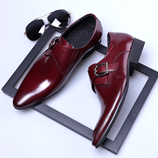 COSIDRAM British Men PU Leather Red Wine Shoes