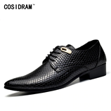 COSIDRAM Mens Snake Skin Black Leather Shoes