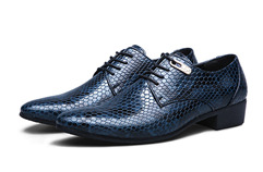 COSIDRAM Mens Snake Skin Blue Leather Shoes