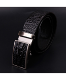 COWATHER Black Leather Alligator Pattern Automatic Buckle Belt AT-592