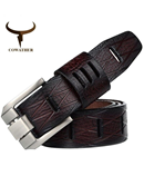 COWATHER Dark Brown Luxury Leather Belts Pin Buckle AT-831