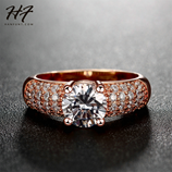 CZ Crystal Engagement Wedding Rose Gold Fashion Rhinestones Rings