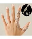 Chain Link Full Rhinestone Flower Double Finger Ring