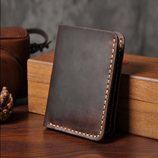 Choco Brown Vertical Handmade Leather Wallet